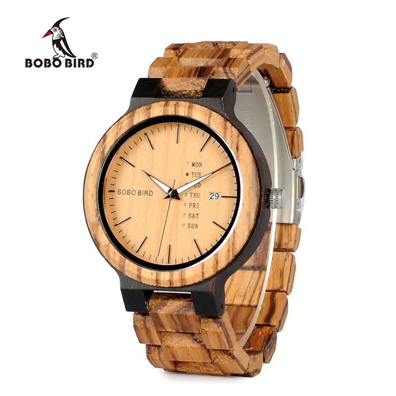 relogio <font><b>masculino</b></font> BOBO BIRD Wood Watch Men erkek kol saati Week Display Date Quartz Watches Wooden Accept Logo Drop Shipping