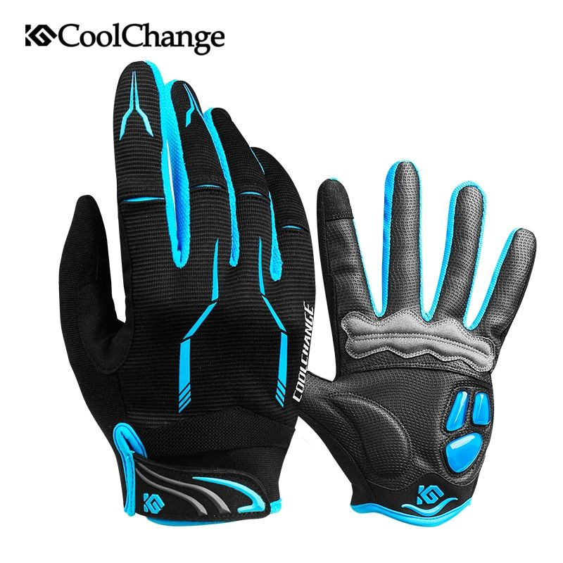 CoolChange Cycling Gloves Touch Screen GEL Bike Sport Shockproof Gloves For Man Woman MTB Road Bicycle Full Finger Phone Glove