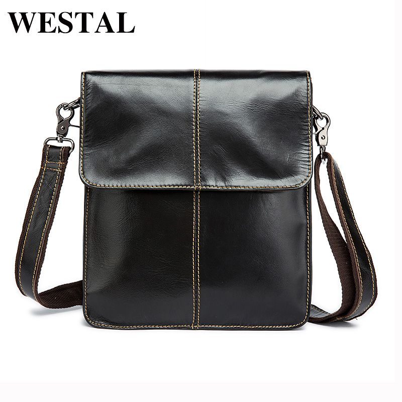 WESTAL Simple Genuine Leather Men Bag Man Crossbody Shoulder Bag Men Small Business Bags Male Messenger Leather Bags Coffee 8821