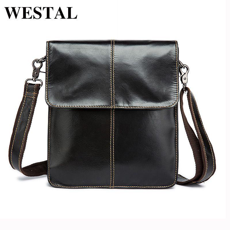 WESTAL Simple Genuine Leather Men Bag Man Crossbody Shoulder Bag Men Small Business Bags Male Messenger Leather Bags Coffee 8821