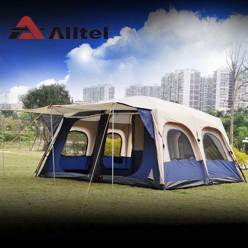 Alltel Super große anti regen 6-12 personen outdoor camping familie kabine wasserdicht angeln strand zelt 2 schlafzimmer 1 wohnzimmer