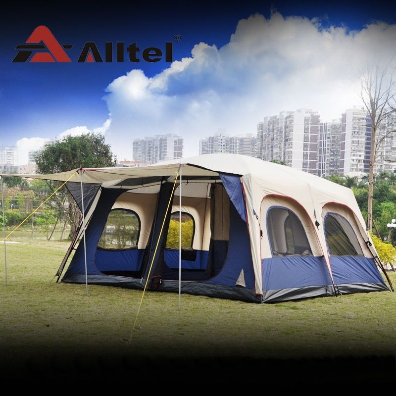 Alltel Super large anti rain 6-12 persons outdoor camping family cabin waterproof fishing beach tent 2 bedroom 1 living room