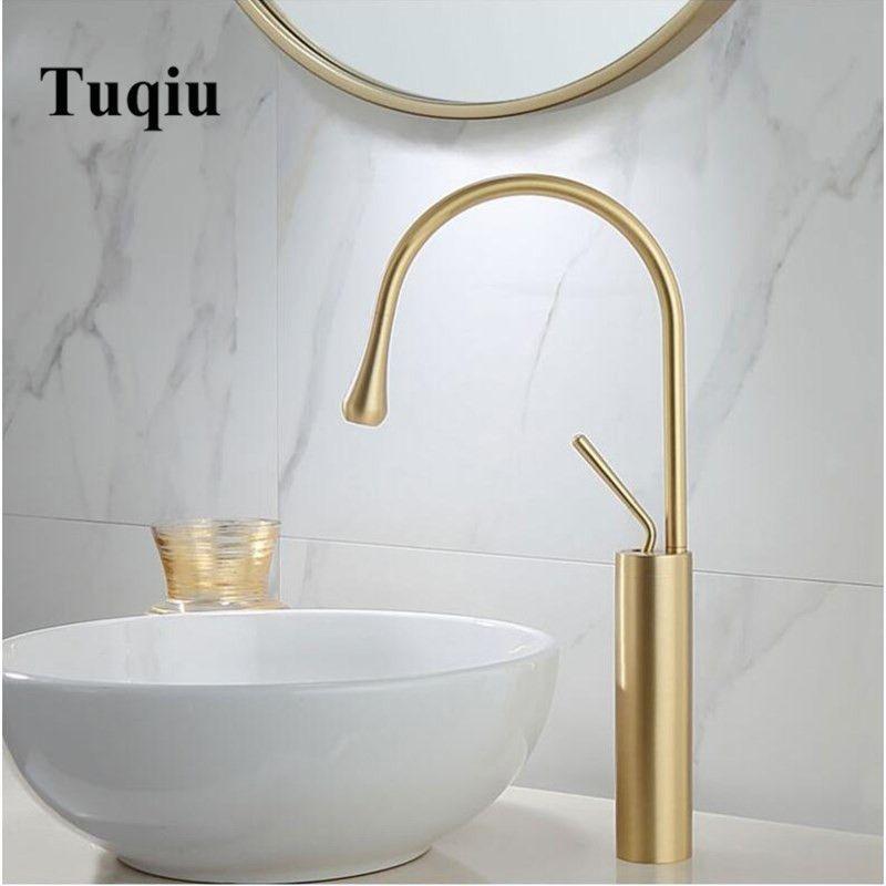 Nouveau robinet de lavabo à levier unique 360 Rotation bec Moder en laiton mitigeur pour cuisine ou salle de bain lavabo évier mélangeur Or brosse