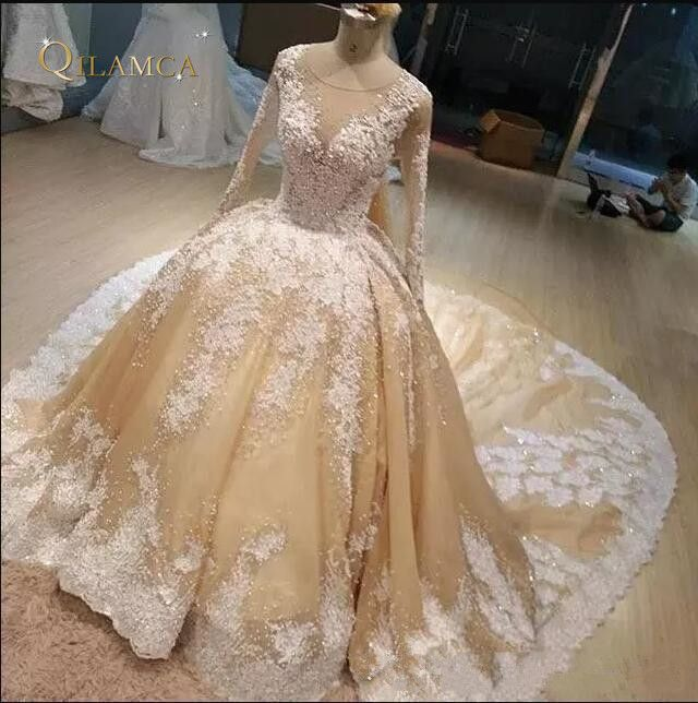 2018 Champagne Bridal Gowns With White Lace Applique Jewel Sheer Neck Long Sleeves Wedding Gowns Cathedral Train Custom