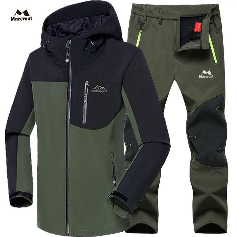 MAZEROUT Man Winter Waterproof Fishing Skiing Warm Softshell Fleece Hiking Outdoor Trekking Camping Jacket Set + Pants 5XL S3