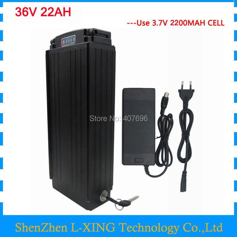 36v 22ah battery 36V rear rack battery ebike battery li-ion 36V 30A BMS with tail light 2A Charger for 36V e bike free shipping