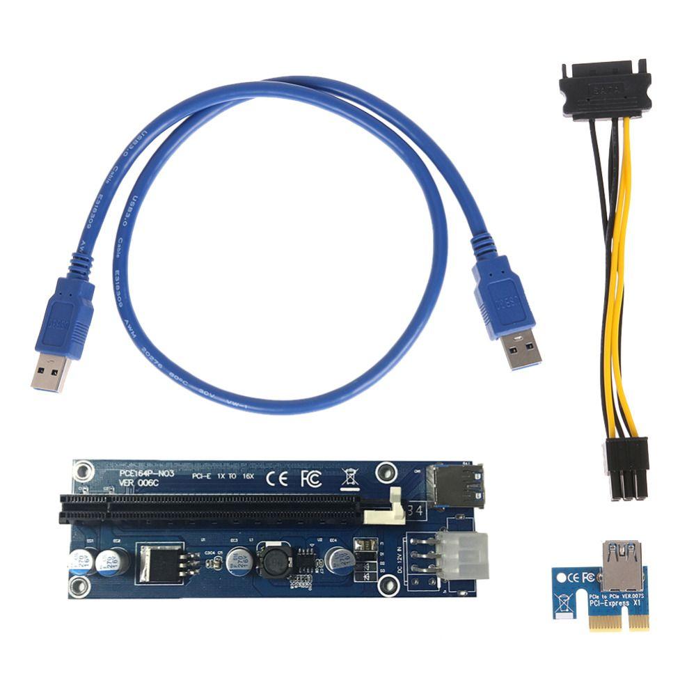 Pcie Pci-e Pci Express Riser carte 1x à 16x GPU Usb 3.0 Extender Riser X1 X16 carte adaptateur SATA 6Pin câble d'alimentation pour mineur