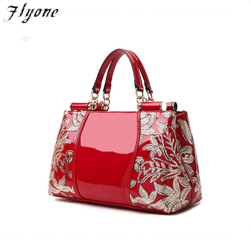 Flyone Women's Handbags Patent Genuine Leather Brand Counters fashion leather handbag Luxury Sequins Women Tote Bag FL00003