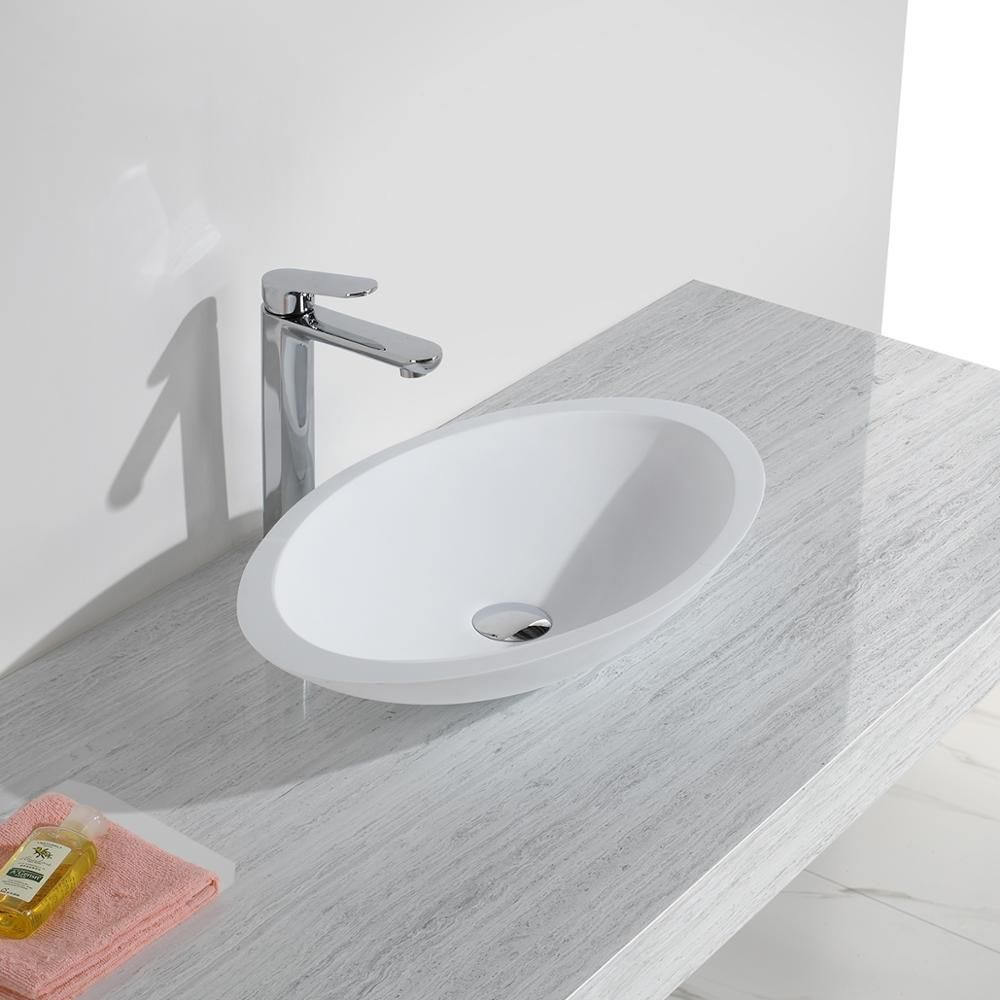KKR solid surface artificial stone matt white oval countertop wash basin KKR-1301