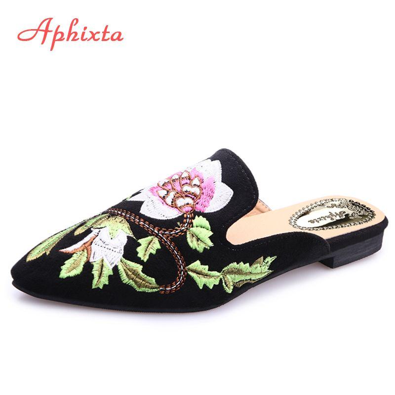 Aphixta femmes chaussures mode fleur pantoufle broderie peu profonde talon bas plat avec automne Floral Point orteil extérieur noir pantoufle