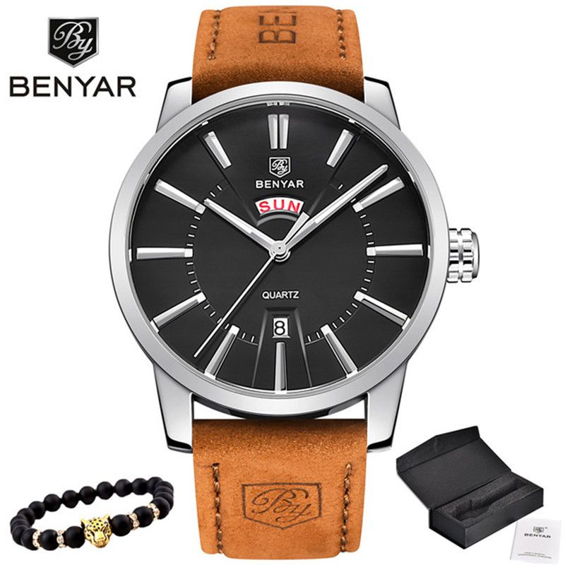 2019 NEW Luxury Brand BENYAR Men Sport Watches Men's Quartz Clock Man Army Military Leather Blue Wrist Watch Relogio Masculino