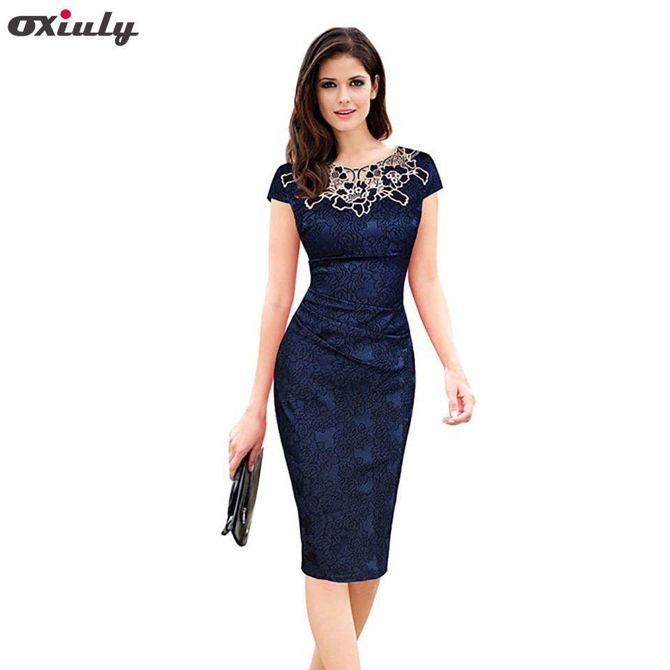 Oxiuly Womens Elegant Floral Print Hollow Out Embroidered Ruched Pencil Bodycon Special Occasion Evening Party Sheath Dress