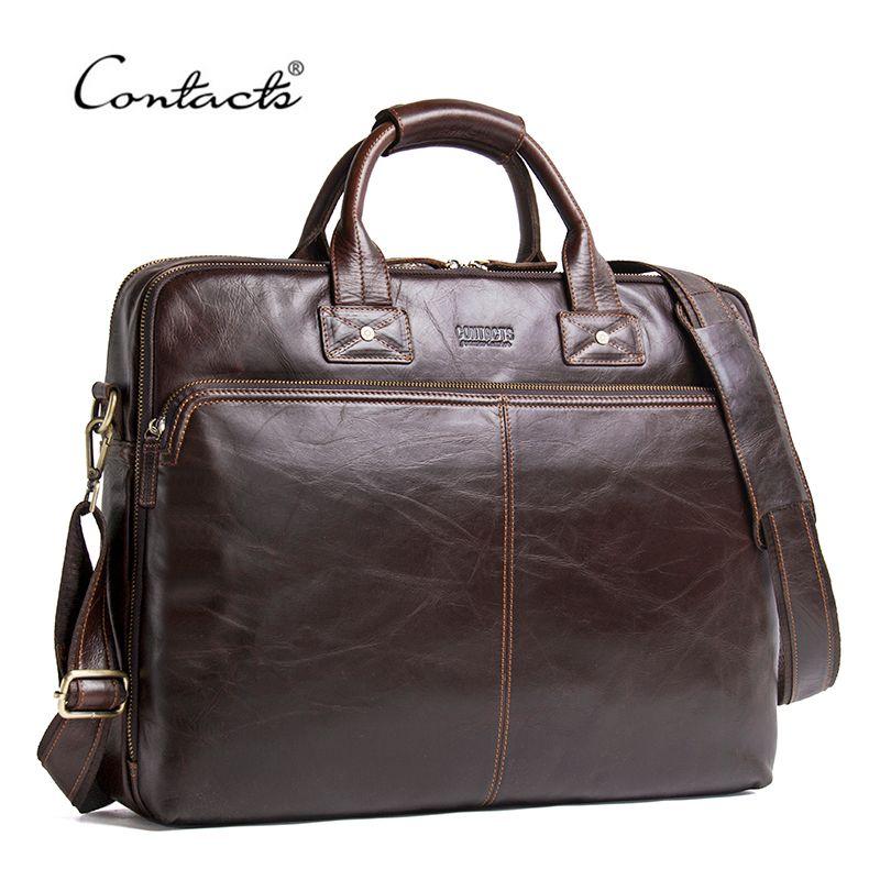 CONTACT'S Echtem Leder Männer Tasche Luxus Marke Schulter Taschen Männliche Umhängetasche Neue Business Handtasche Für 15,6 Laptop Aktentasche