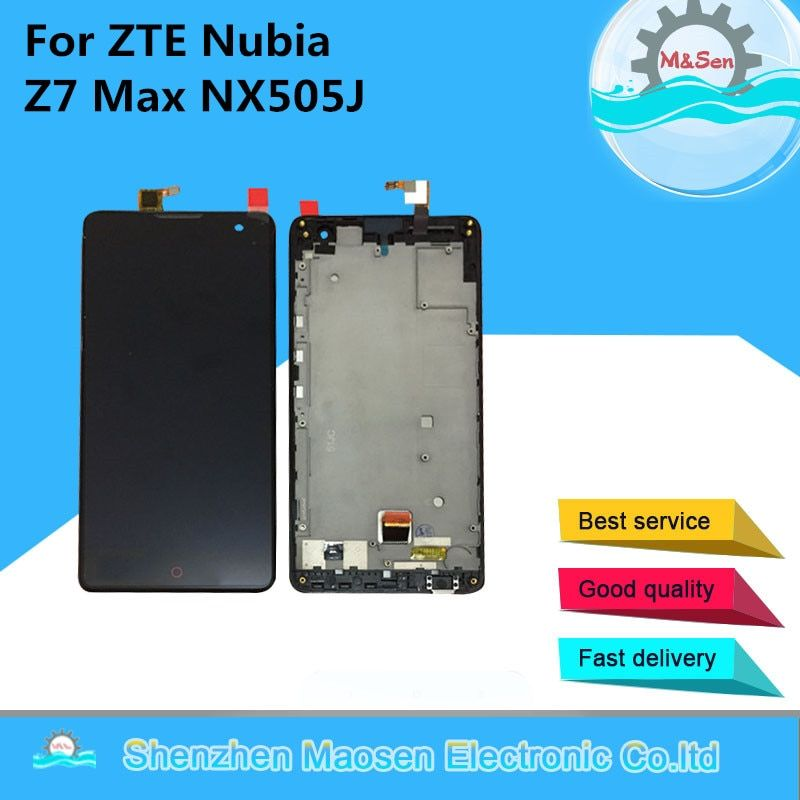 M&Sen For ZTE Nubia Z7 Max NX505J LCD screen display+touch digitizer with frame black free shipping