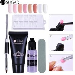 UR SUCRE 5 pcs Poly Gel Ensemble UV Builder Gel Extention Cristal Gelée Polygel Rapide Liquide et un Slip Solution Manucure nail Kit