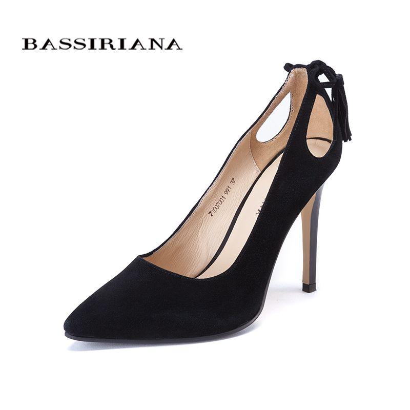 Haute talons chaussures femme 2017 Véritable daim en cuir femmes Pompes Mince de Spike Talon Bout Pointu Printemps Livraison shippinng BASSIRIANA