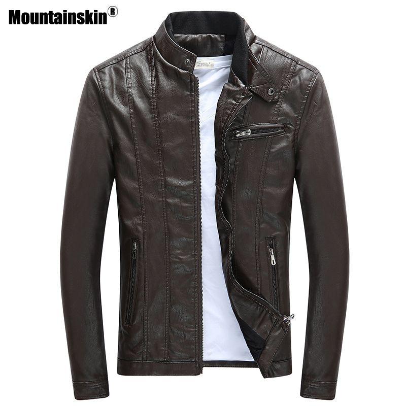 Mountainskin 2018 Mens PU Jackets Coats Motorcycle Biker Faux Leather Jacket Men Autumn Winter Clothes Thick Velvet Coat SA590