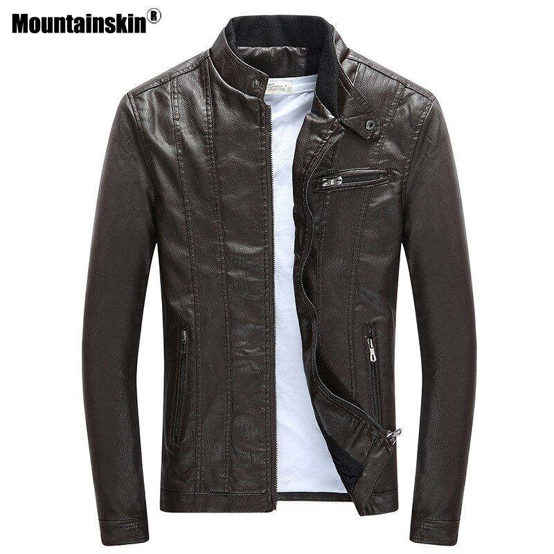 Mountainskin 2018 Mens PU Jackets Coats Motorcycle Biker Faux Leather Jacket Men Autumn Winter Clothes Thick Velvet Coat SA590