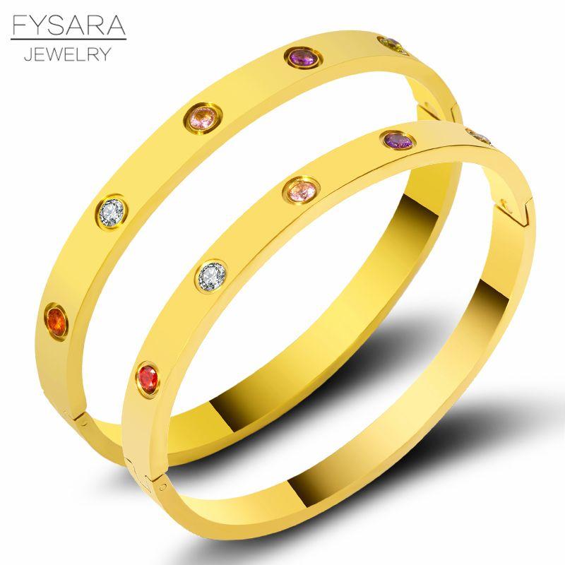 FYSARA luxe coloré zircone cristaux Bracelets et Bracelets en acier inoxydable vis belles Bracelets pour les femmes Couple Pulseiras