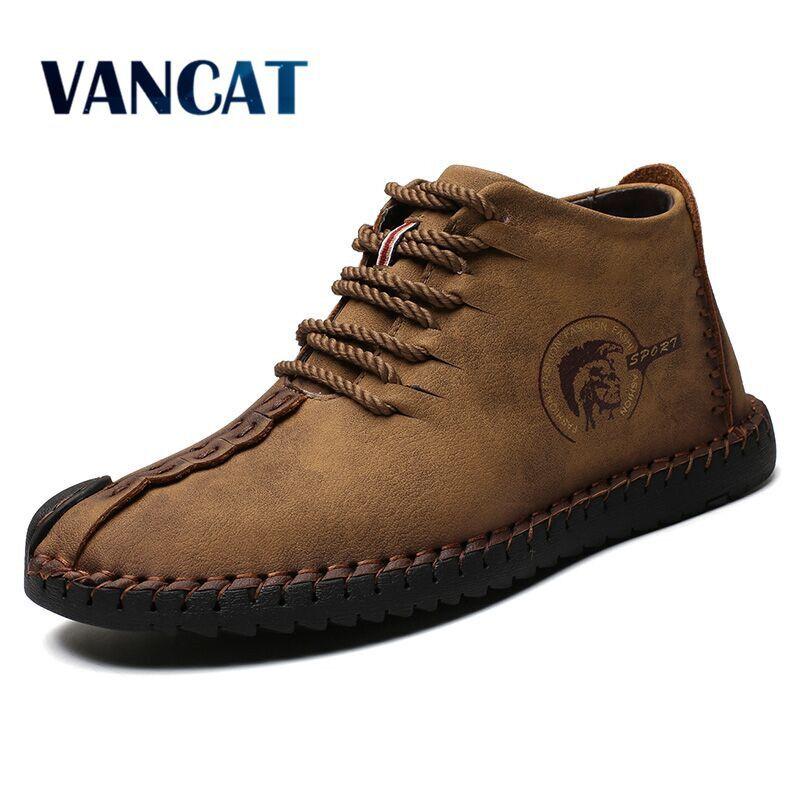 Vancat Fashion Men Boots High Quality Split Leather Ankle Snow Boots Shoes Warm Fur Plush Lace-Up Winter Shoes Plus size 38~48