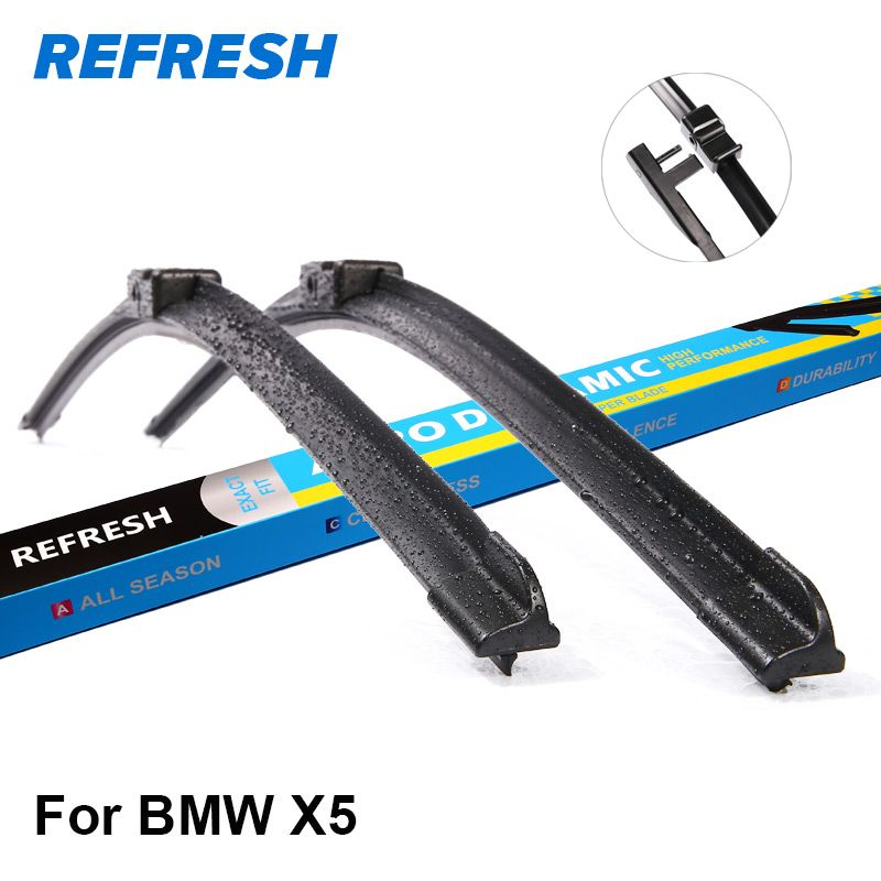 REFRESH Wiper Blades for BMW X5 E53 / E70 / F15 Fit Hook / Side Pin / Push Button Arms Exact Fitting From 1999 to 2017