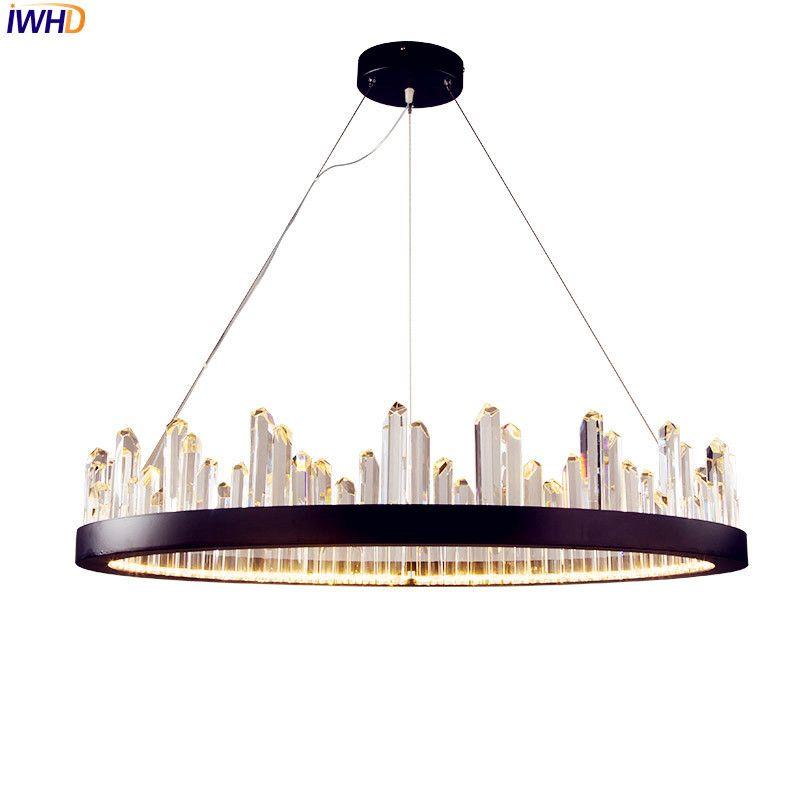 IWHD Nordic Moderne LED Pendelleuchten Leuchten Wohnzimmer Schwarz Runde Kristall Hängeleuchte Hanglamp Cristal De Pendente
