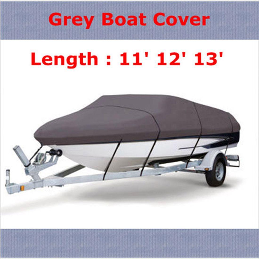WaterProof 210D Grey Boat Mooring Cover 11 12 13 FT Beam 105 inch Trailerable Fish-Ski V-Hull Storage Bag