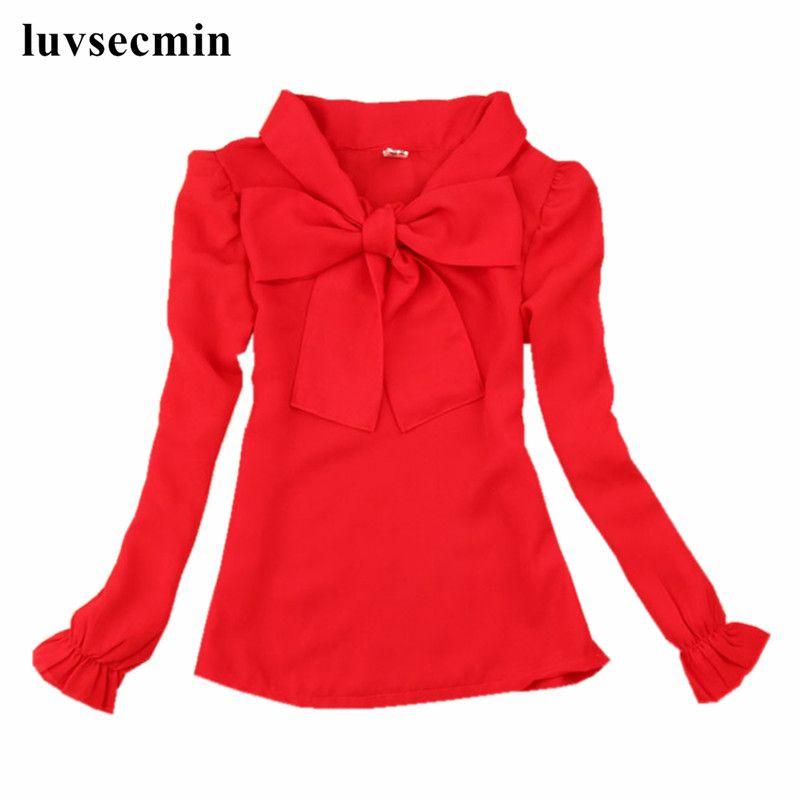 2017 Spring Fall 2-16Y Chiffon Bow Baby Teenage Big Girls White Red Blouse Child Long Sleeve School Girl Tops Kids Shirts JW0552