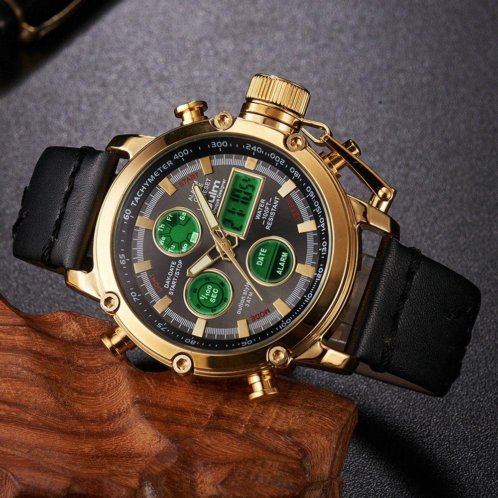 OULM 2018 Fashion Top Brand Luxury Dual Time Digital Watch Men Alarm Date Multifunction Sports Waterproof Military Wrist Watches