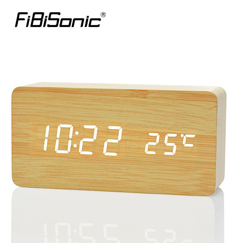 FiBiSonic Wooden Digital LED Alarm Clock reloj despertador Sound Control Temperature Electronic Desk <font><b>Table</b></font> desktop Clock