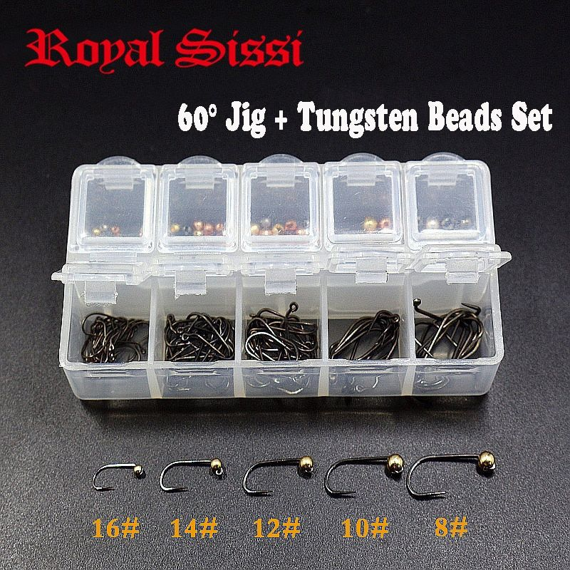 1set 60 degree jig hooks &slotted Tungsten beads combo with despenser fly tying heavy head bead attachable wet nymph fly hooks