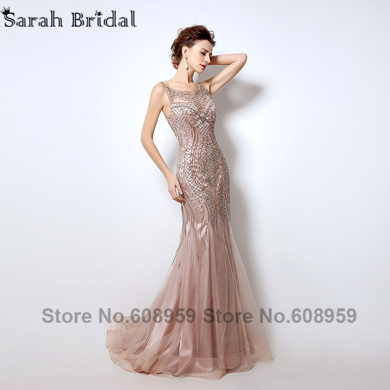 Dubai Rode De Soiree Illusion Evening Long Elegent Dresses 2018 New Luxury Crystal Beaded Mermaid Prom Dress Real Photo LSX029