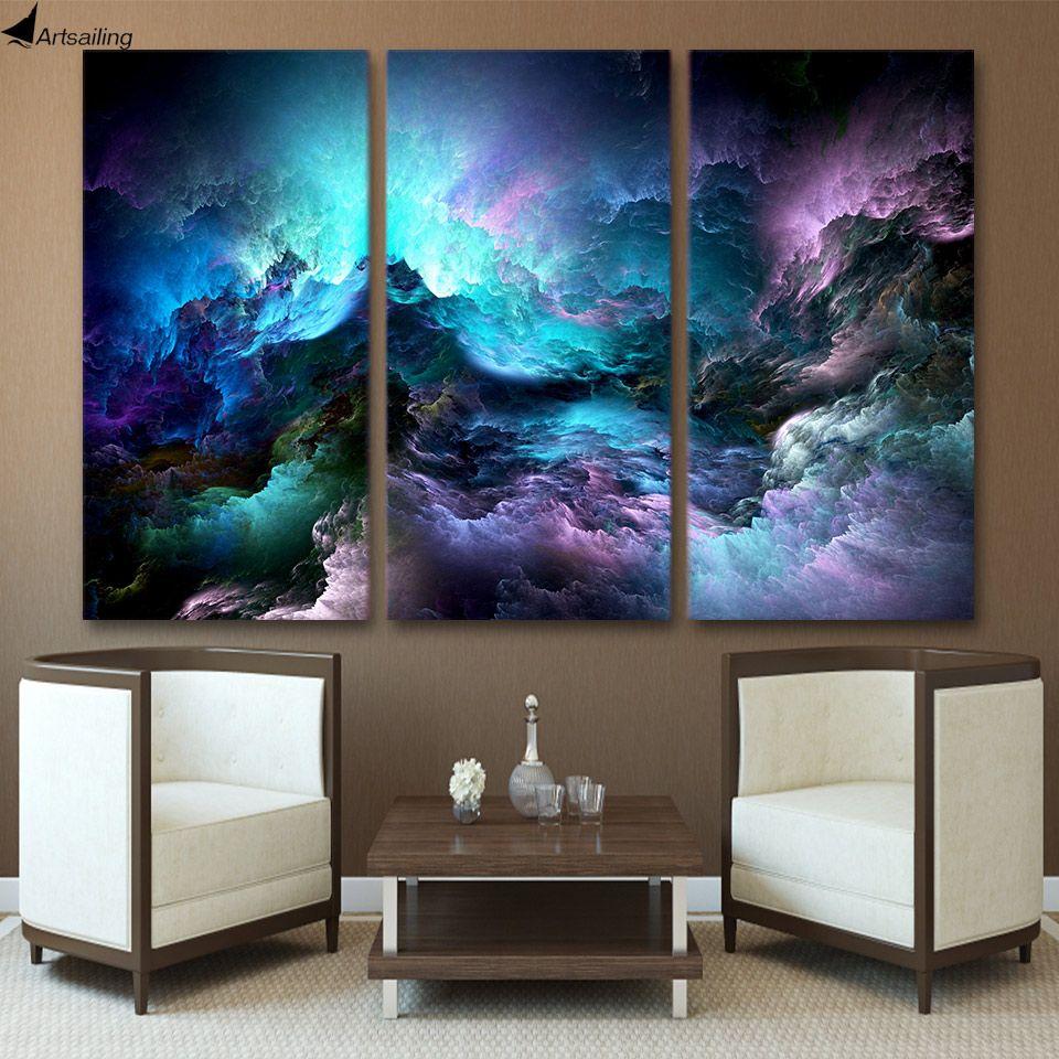 ArtSailing mur peinture HD Imprimé 3 pièces d'art de toile abstraite art psychédélique espace nuage Peinture mur art pièces d'impression