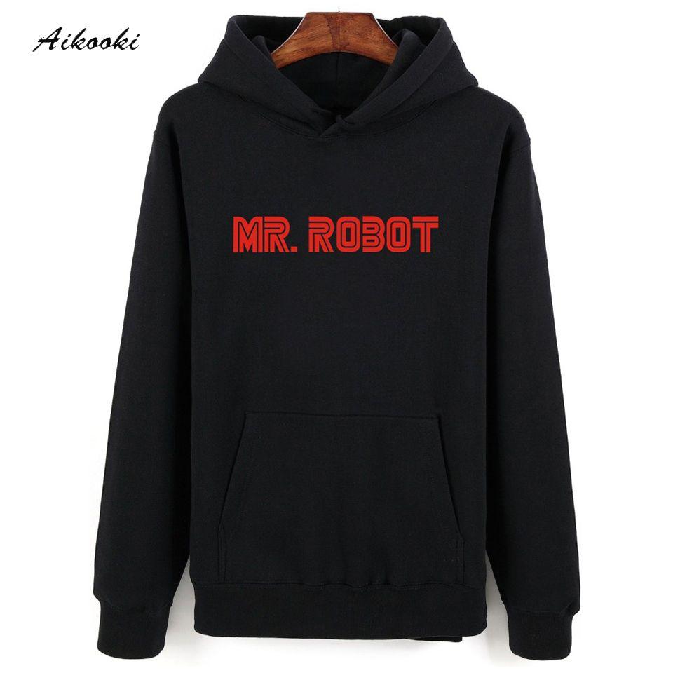 Chaude Mr. Robot Gris Noir Sweat À Capuche Hommes Hip Hop en Hiver Chaud Automne Style Hommes Pulls À Capuche et Sweatshirts Surdimensionnés