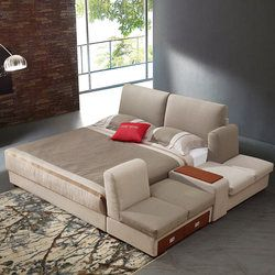 Simple modern tatami Upholstered Tufted Saddle wedding bed