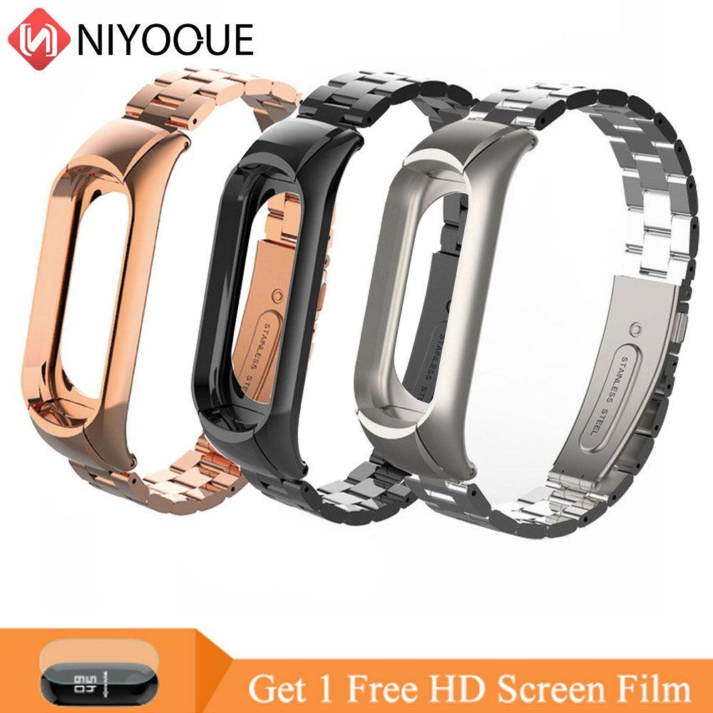 NIYOQUE métal acier sangle ceinture pour Xiao mi mi bande 3 Bracelet pour mi bande 3 Bracelet intelligent Bracelet coloré