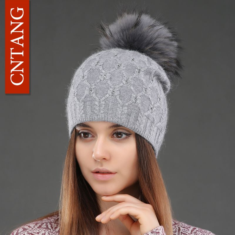 Double <font><b>Deck</b></font> Knitted Wool With Crystal Hats Female Big Real Raccoon Fur Cap Beanies Winter Warm Fashion Pom Poms Hat For Women