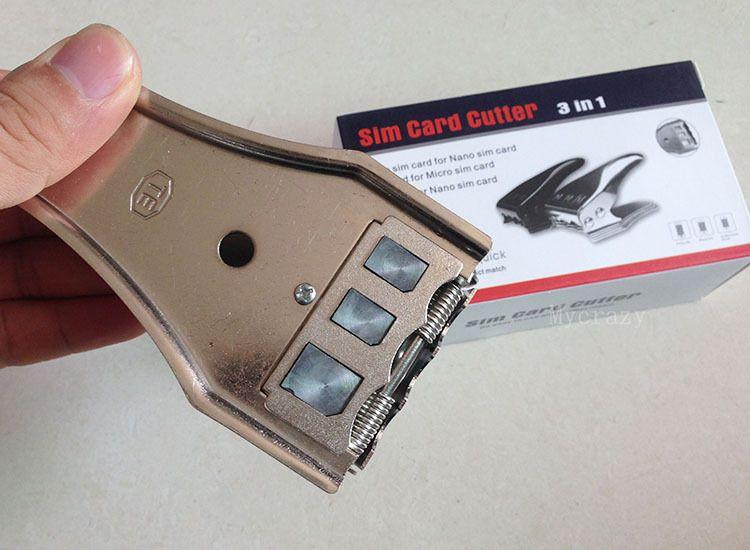 3 en 1 Nano Micro sim card cutter pour iPhone 6 plus 5 5s 4 4S Samsung HTC NOKIA Nano SIM Cutter Coupe avec 3 en 1 Carte SIM Adaptateur