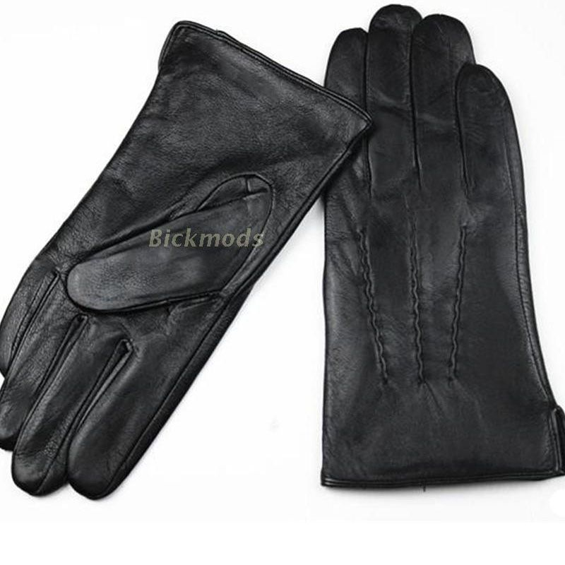Leather Gloves Male Sheepskin Straight Button Style <font><b>Thin</b></font> Velvet Lining Warm Fall Winter Men's leather split 2018 Free Shipping