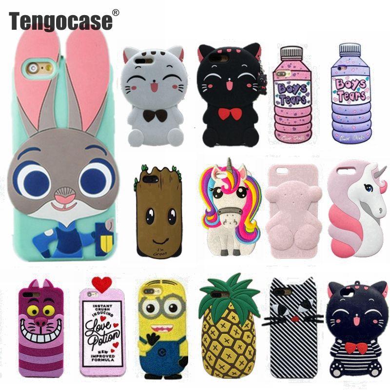 Tengocase 3D стильная футболка с изображением персонажей видеоигр Чехол Мягкий силиконовый чехол для iPhone 7 8 плюс кролик котенок резиновое покрыт...