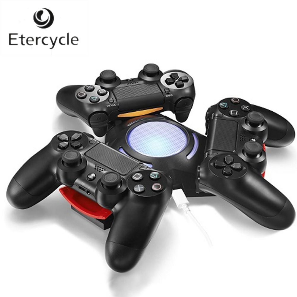 Triangle Triple Port <font><b>Charge</b></font> Station with LED Light USB Charger Charging Dock For Sony Playstation 4 PS4 Dualshock 4 Controller