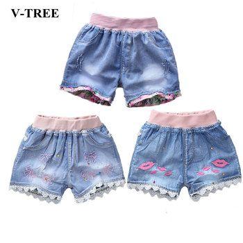 V-TREE Filles D'été Shorts Denim Shorts Pour Filles De Mode Filles Jean Shorts Enfants Sequin Shorts