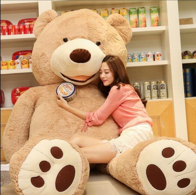 Vente de jouets grande taille 200 cm géant américain ours de la peau, Ours en peluche manteau, Bonne qualité Factary prix peluches pour les filles