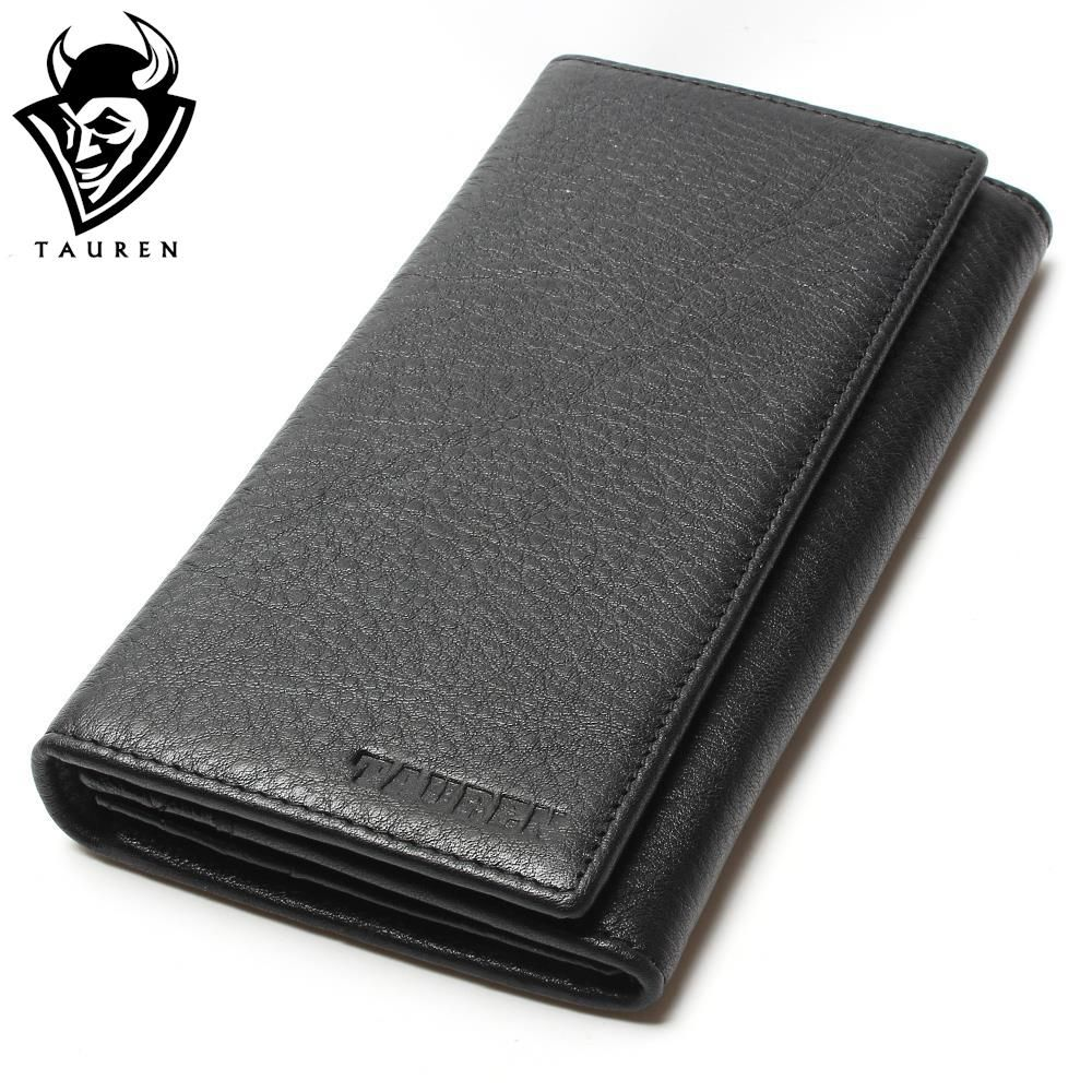 2018 Men's China Manufacturer Wallet 100% Genuine Leather Black Color For Business Man Vintage Wallets Men Leather