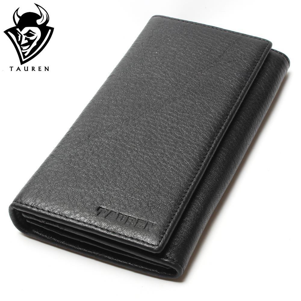 2018 Men's China Manufacturer Wallet 100% Genuine Leather Black Color For Business Man Vintage Wallets Men Leather
