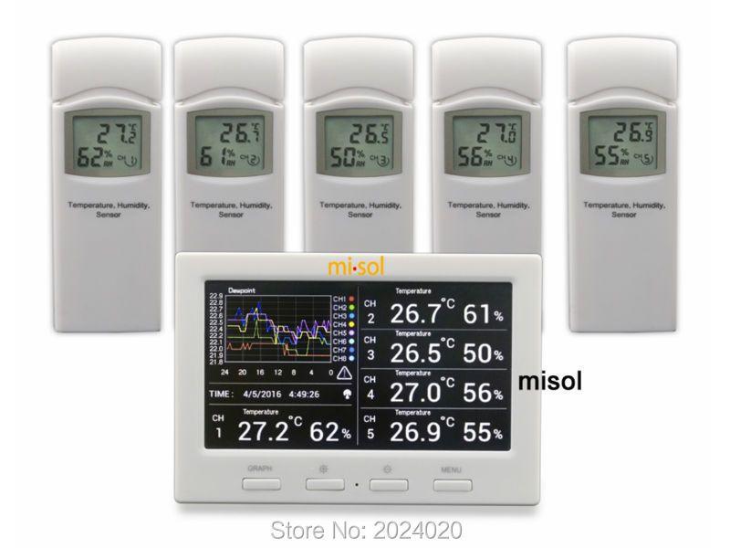 Station météo sans fil avec 5 capteurs, 5 canaux, écran couleur, enregistreur de données, connexion au PC