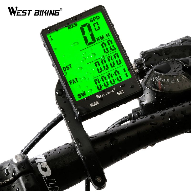 WEST BIKING 2.8 Large Screen Bicycle Computer Wireless and wired Rainproof <font><b>Speedometer</b></font> Odometer Cycling Stopwatch Bike Computer