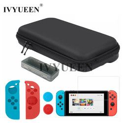 IVYUEEN 7 in 1 Storage Bag Cover for Nintend Switch NS Console Tempered Glass Screen Protector + Controller Silicone Case Skin