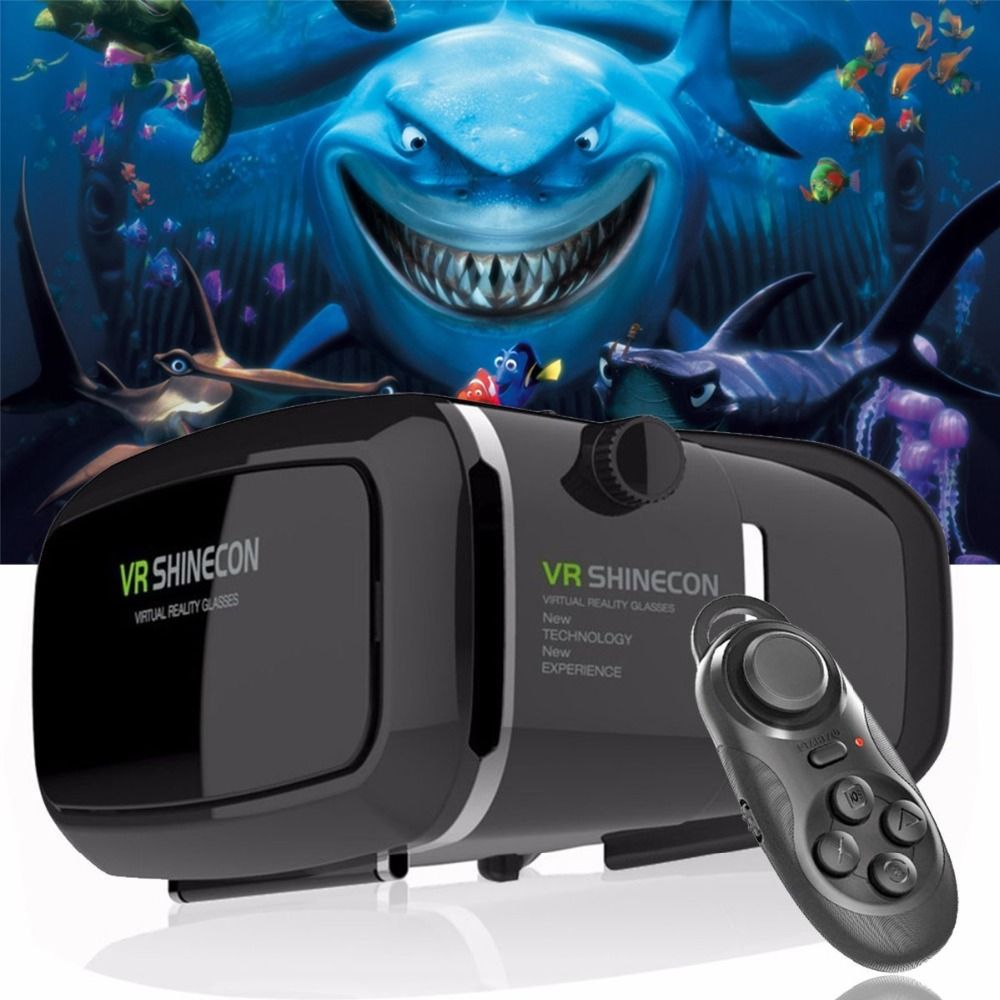 Chaude! 2018 Google Carton VR shinecon Pro Version VR Réalité Virtuelle Lunettes 3D + Smart Bluetooth Sans Fil Télécommande Gamepad