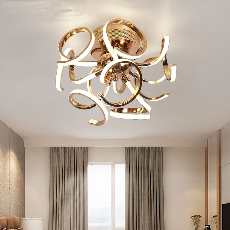 new brief style LED ceiling Chandelier chrome gold plafonnier led lamp modern living room bedroom lighting diameter 50cm